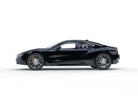 Automobile sportiva nera moderna - vista laterale - isolata su fondo bianco.