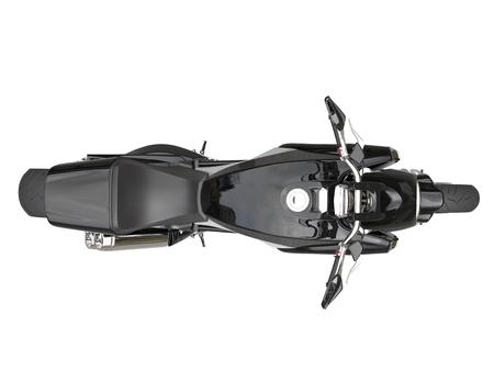 ブラック スポーツ バイク - トップ ビュー - 白い背景に分離