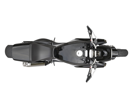 Black sports motorcycle - top view - isolated on white background