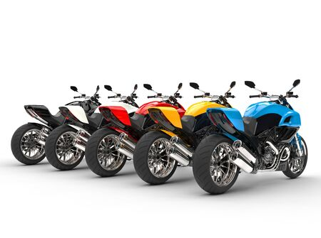 torque: Sports motorcycles in a row - back view - isolated on white background Stock Photo