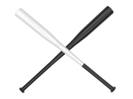 homerun: Black and white baseball bats crossed - isolated on white background