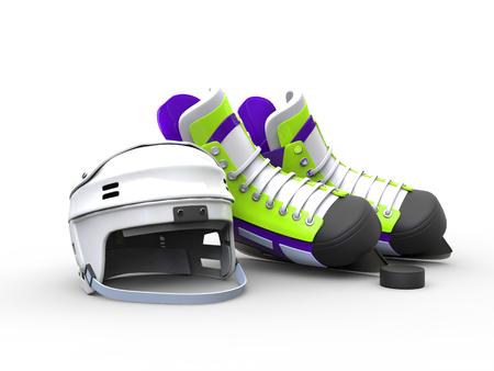 iceskates: Green purple hockey skates with white hockey helmet - isolated on white background