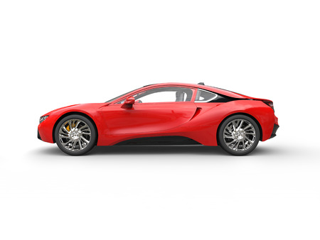 Modern red sports car - side view - isolated on white background. Imagens