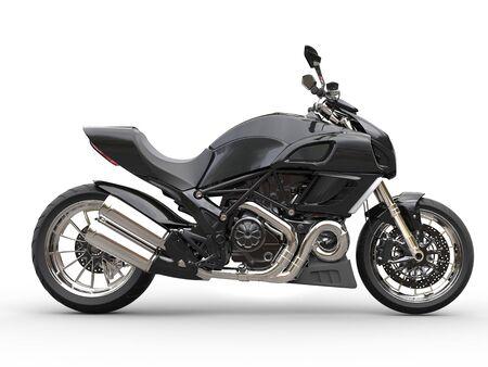 Schwarz Sport-Motorrad - Seitenansicht - isoliert auf weißem Hintergrund