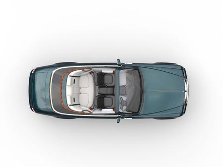 白い背景に分離された暗い緑カブリオレ高級車 - 平面図-