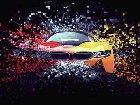 concept car: Two color sports car - abstract pixel destruction illustration