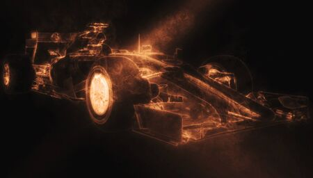 Car - Orange Smoke 3D Illustration