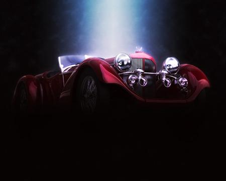Red vintage car - epic lighting - 3D Illustration