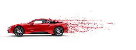 Red sports car - paint peeling off - 3D Illustration