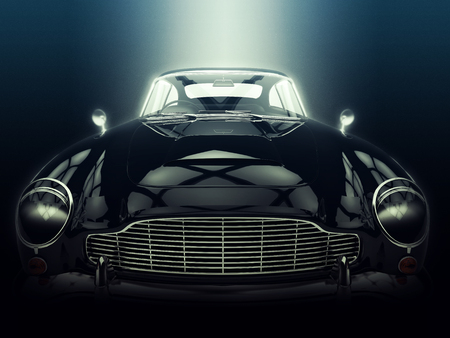 epic: Classic black car - closeup shot - epic lighting - 3D Illustration