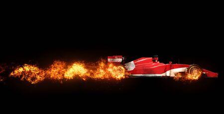bolide: Speeding car - wheels on fire - on black background Stock Photo