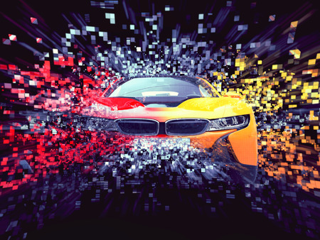 Two color sports car - abstract pixel destruction illustration