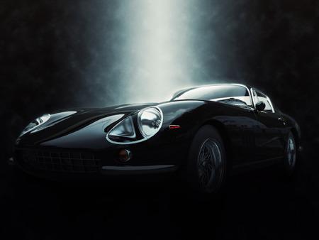 黒クラシックなスポーツカー - 壮大な照明効果の 3 D 図