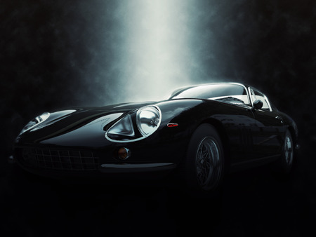Black classic sports car - epic lighting effect - 3D Illustration