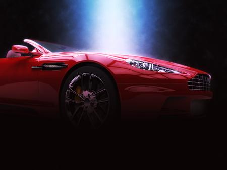 赤いスポーツ ・ カー - 壮大な照明 - 3 D イラスト 写真素材