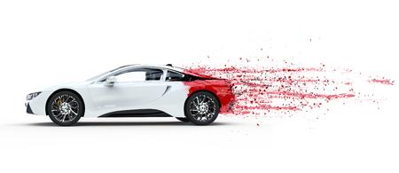 本当に速い白いスポーツカー - 剥離塗料