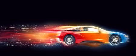カラフルなスポーツ ・ カー - スピード コースと粒子 写真素材