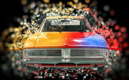 Colorful vintage muscle car - pixel bokeh effect - on black background