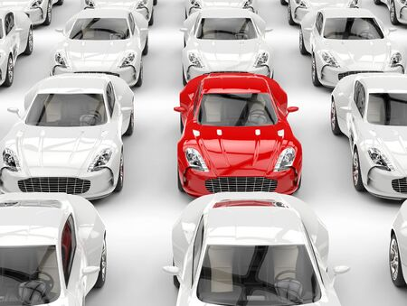 red sports car: Red sports car stands out in the crowd