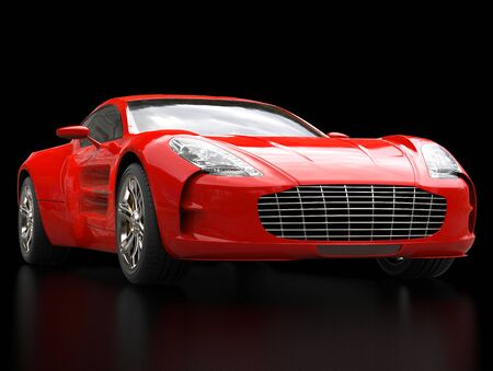 sportscar: Red sports car - closeup shot - isolated on black background - ground reflections