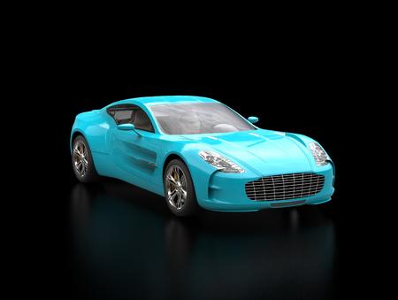 sportscar: Bright blue sportscar on black background - blurry reflection