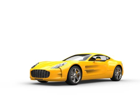 beauty shot: Yellow sports car - beauty studio shot - isolated on white background