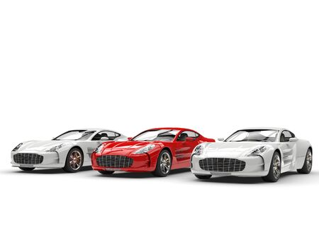 red sports car: Red sports car stands out