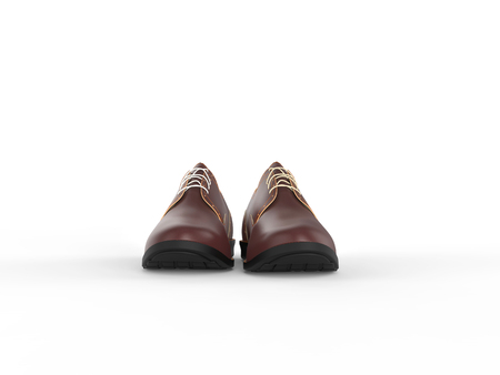 brogues: Pair of oxford light brown shoes - front view - isolated on white background