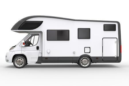 Big white camper vehicle - side view - isolated on white background Stock Photo
