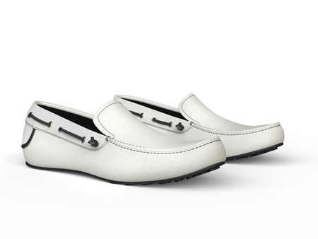 moccasin: Pair of white loafers with black stitching - closeup shot - isolated on white background