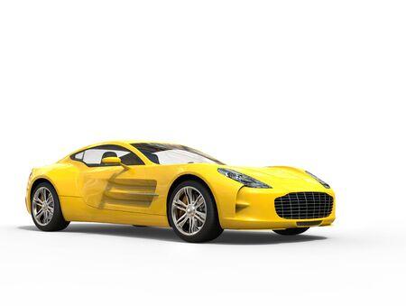 sportscar: Yellow sports car - beauty studio shot - isolated on white background