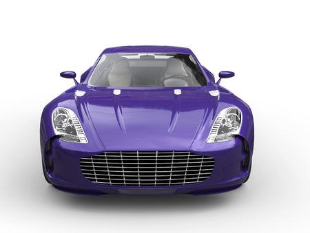 白い背景に分離された高速の紫のスポーツ車 - フロント ビュー- 写真素材