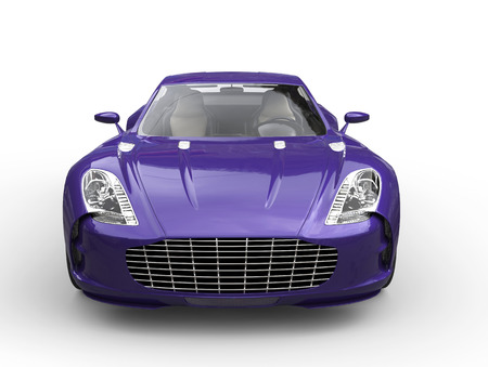 Purple fast sports car - front view - isolated on white background