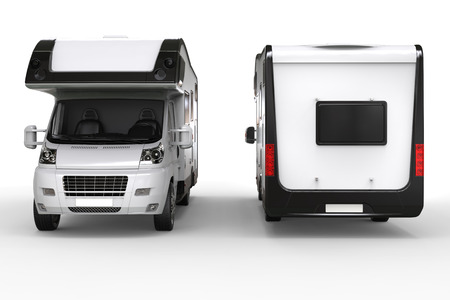 Big camper van - front and back shot - isolated on white background Фото со стока - 58924217