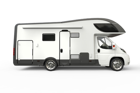 Big camper vehicle - side view - isolated on white background Фото со стока