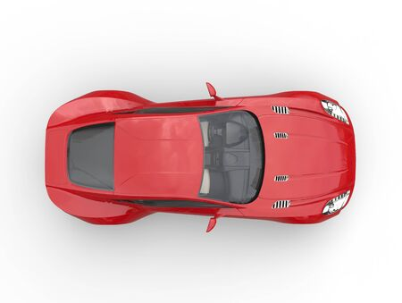 red sports car: Red sports car - top view - isolated on white background