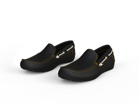 moccasin: Pair of black loafers with yellow stitches and white leather straps - isolated on white background