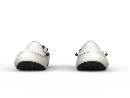moccasin: Pair of white loafers with black stitching - front view - isolated on white background Stock Photo