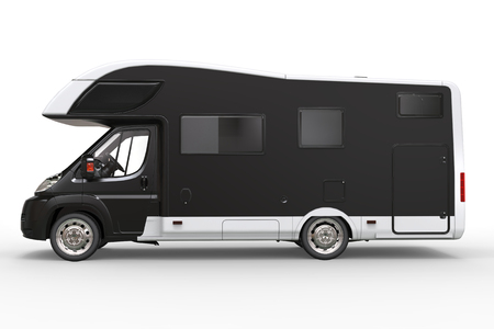 Big black camper vehicle - side view - isolated on white background