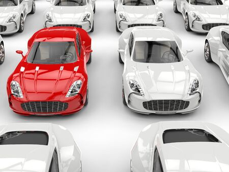 sportscar: Red and white sports cars - studio shot