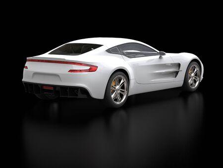 sportscar: White sports car - back side view shot - ground reflection - isolated on black background