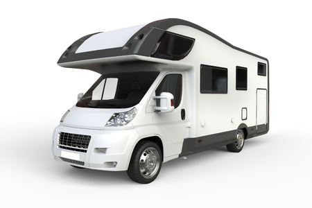Big white camper van - isolated on white background