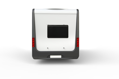Big white camper van - back view - isolated on white background Standard-Bild