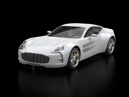 White sports car - front view beauty shot - ground reflection - isolated on black background Stock Photo