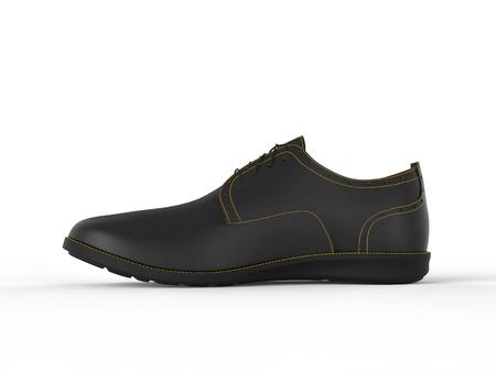 brogue: Stylish black oxford shoe with yellow stitching - isolated on white background