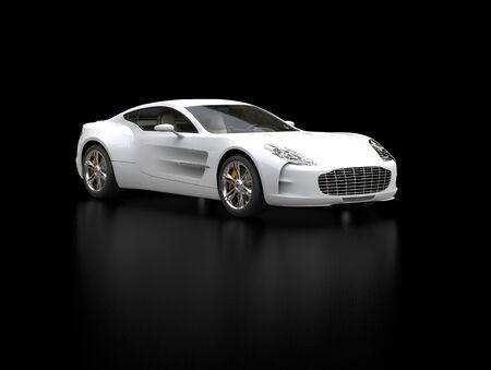 White sports car - beauty studio shot - ground reflection - isolated on black background Reklamní fotografie