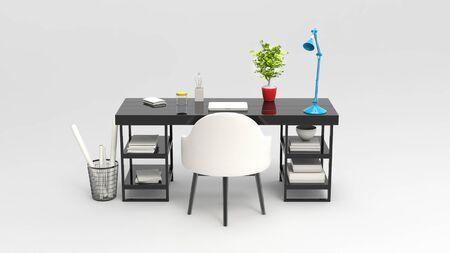 work space: 3D illustration of modern work space - studio shot - back view
