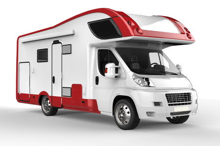 Big white and red camper vehicle- isolated on white background