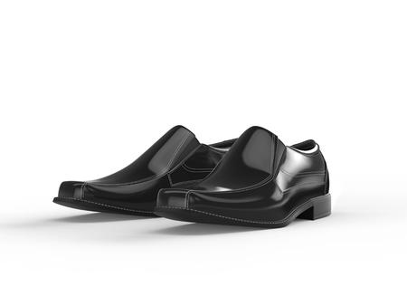 shiny black: Shiny black leather moccasins with white stitching - isolated on white background