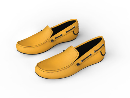 moccasin: Pair of yellow loafers with black stitching - top view - isolated on white background Stock Photo